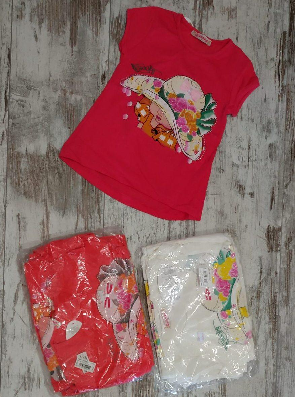 """Футболка детская """"Шляпка"""" для девочек 2-3-4-5 лет (92-98-104-110 см). Один цвет в упаковке. Оптом"""