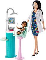 Набір лялька Барбі Брюнетка стоматолог з аксесуарами та меблями FXP17 (Barbie Dentist Doll), фото 1