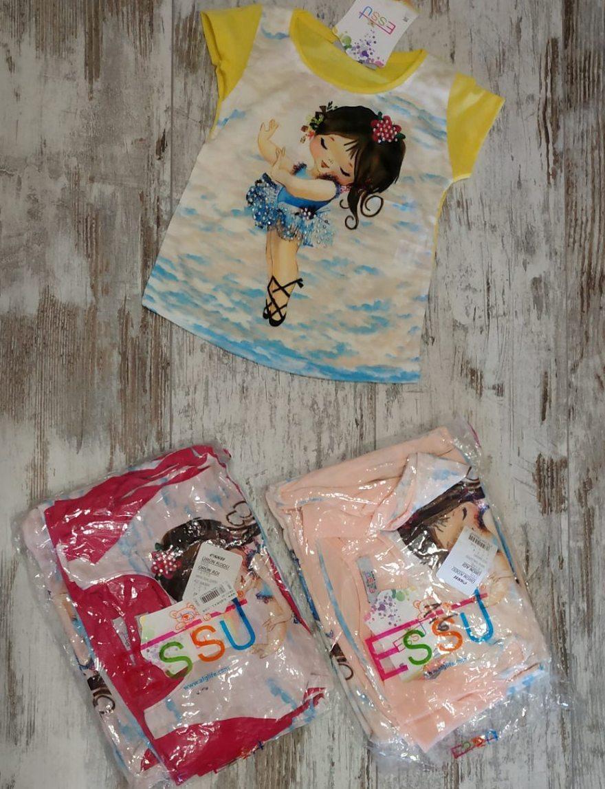 """Футболка детская """"Анжелика"""" для девочек. 1-2-3-4 года (86-92-98-104 см). Один цвет в упаковке. Оптом"""