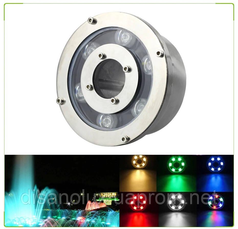 Світильник підводний для підсвічування фонтану FG-01 6W RGB LED 12V розмір 130мм * 80мм IP68