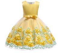 Платье с цветами на юбке желтое нарядное для девочки , фото 1