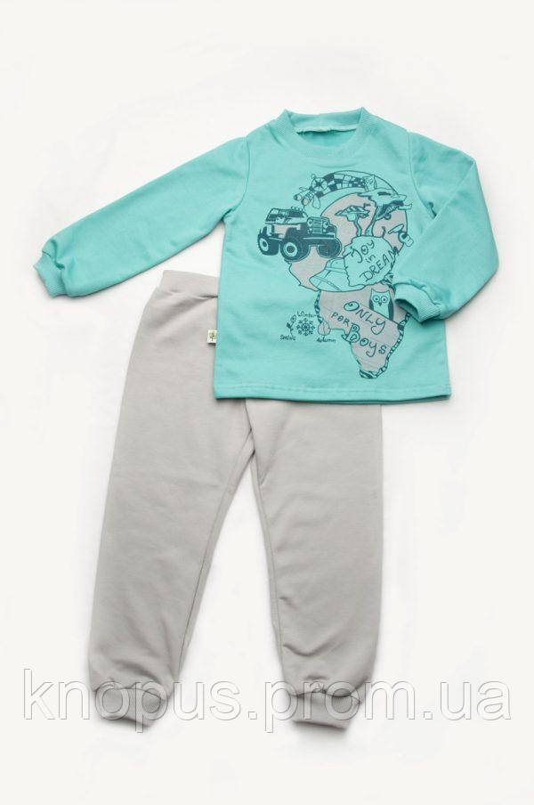 Пижама для мальчика (футер), бирюза с серым, Модный карапуз, размеры 92-122