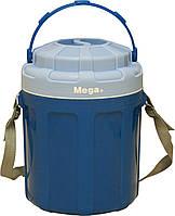 Термос пищевой Mega на 3,5 л синий (контейнер-термос для еды с судками и приборами), фото 1