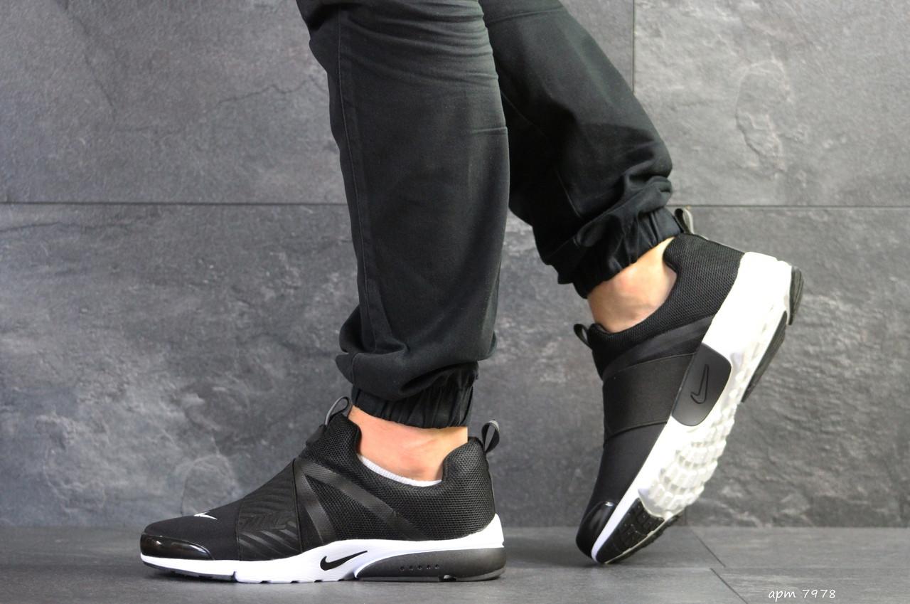 Мужские кроссовки Nike air presto,текстиль,черно-белые