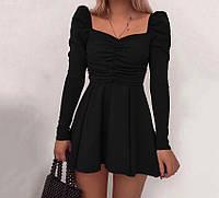 Трапециевидное мини платье с рукавом, маленькое чёрное платье