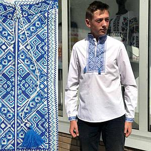 Подростковая вышиванка с синей вышивкой