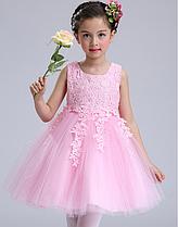 Платье розовое короткое пышное нарядное для девочки