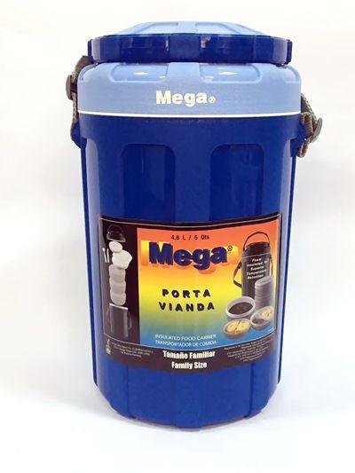 Термос пищевой Mega на 4,8 л синий (контейнер-термос для еды с судками и приборами)