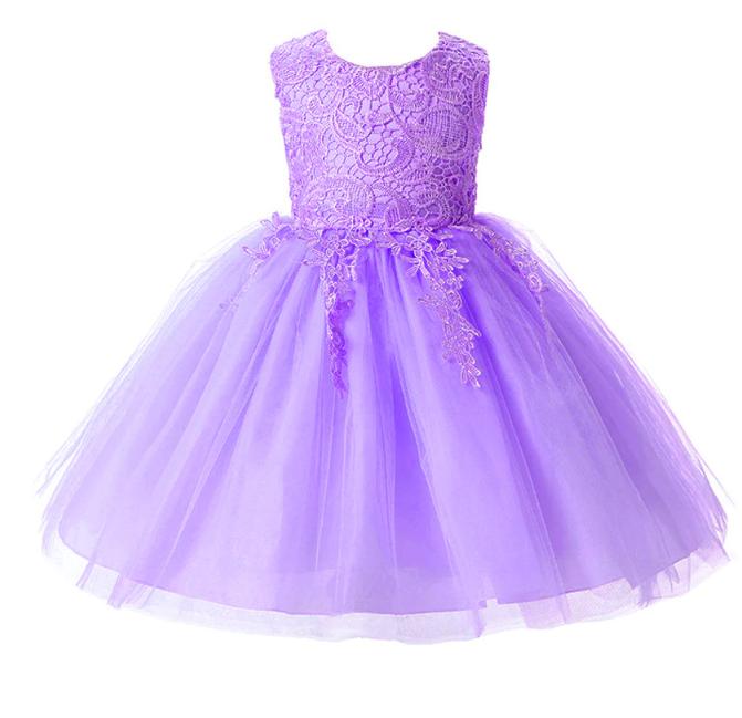 Платье сиреневое короткое пышное нарядное для девочки
