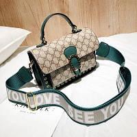Маленькая женская сумка LOVE в стиле Gucci (Гуччи) зеленая