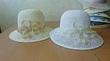 Шляпа из белой молочной и бежевой рисовой соломки с большими полями 10 см, фото 4