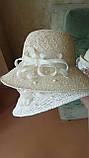 Шляпа из белой молочной и бежевой рисовой соломки с большими полями 10 см, фото 5