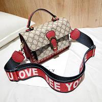 Маленькая женская сумка LOVE в стиле Gucci (Гуччи) красная, фото 1