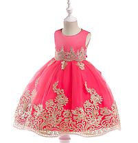 Платье волшебное коралловое с золотой вышивкой нарядное выпускное для девочки