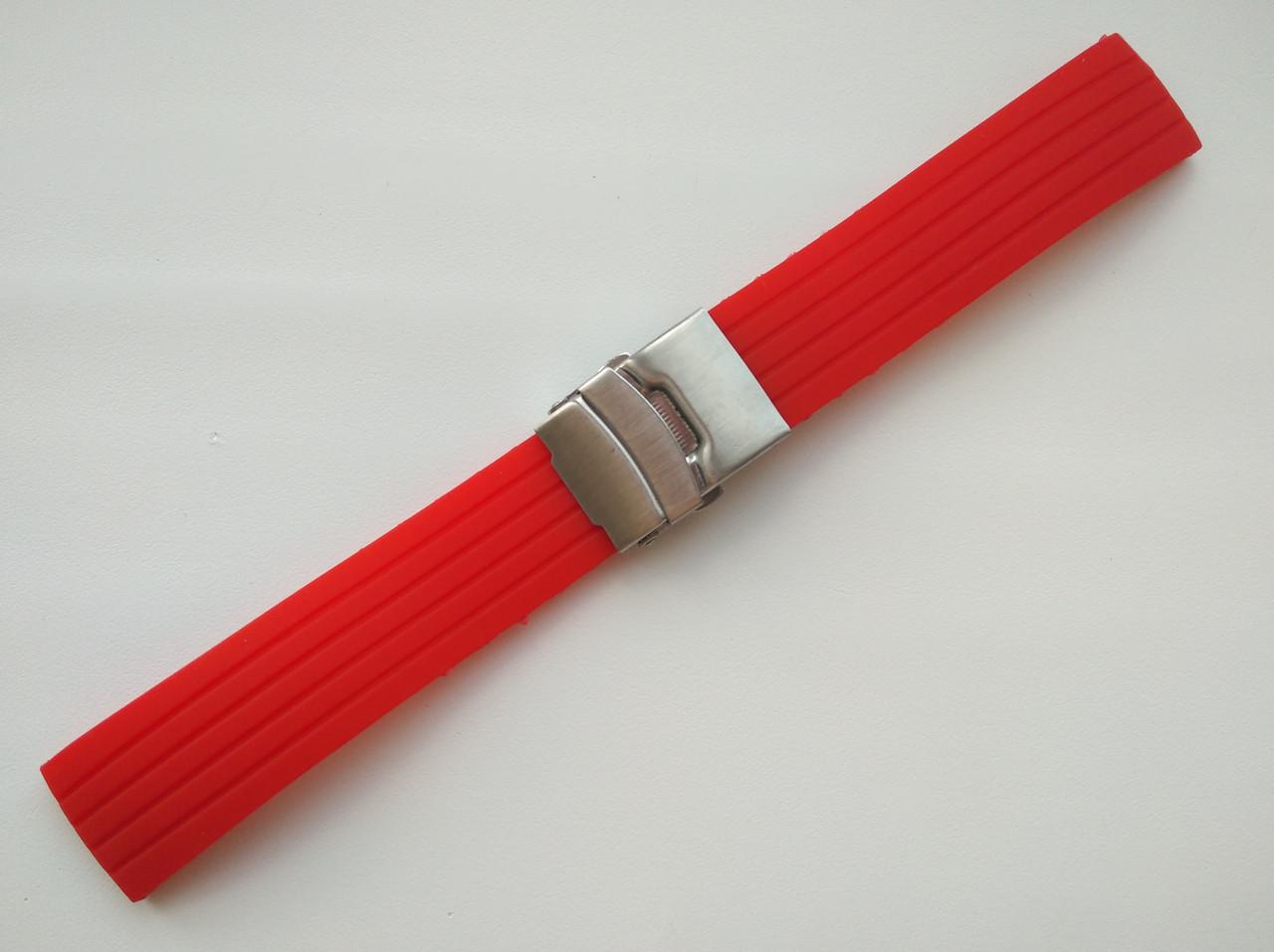 Каучуковый ремешок для часов. Красный. 22 мм