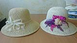 Шляпа из белой молочной и бежевой рисовой соломки с большими полями 10 см, фото 3