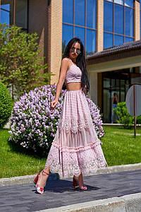 Шикарный женский костюм с текстурным кружевом. А-5-0519