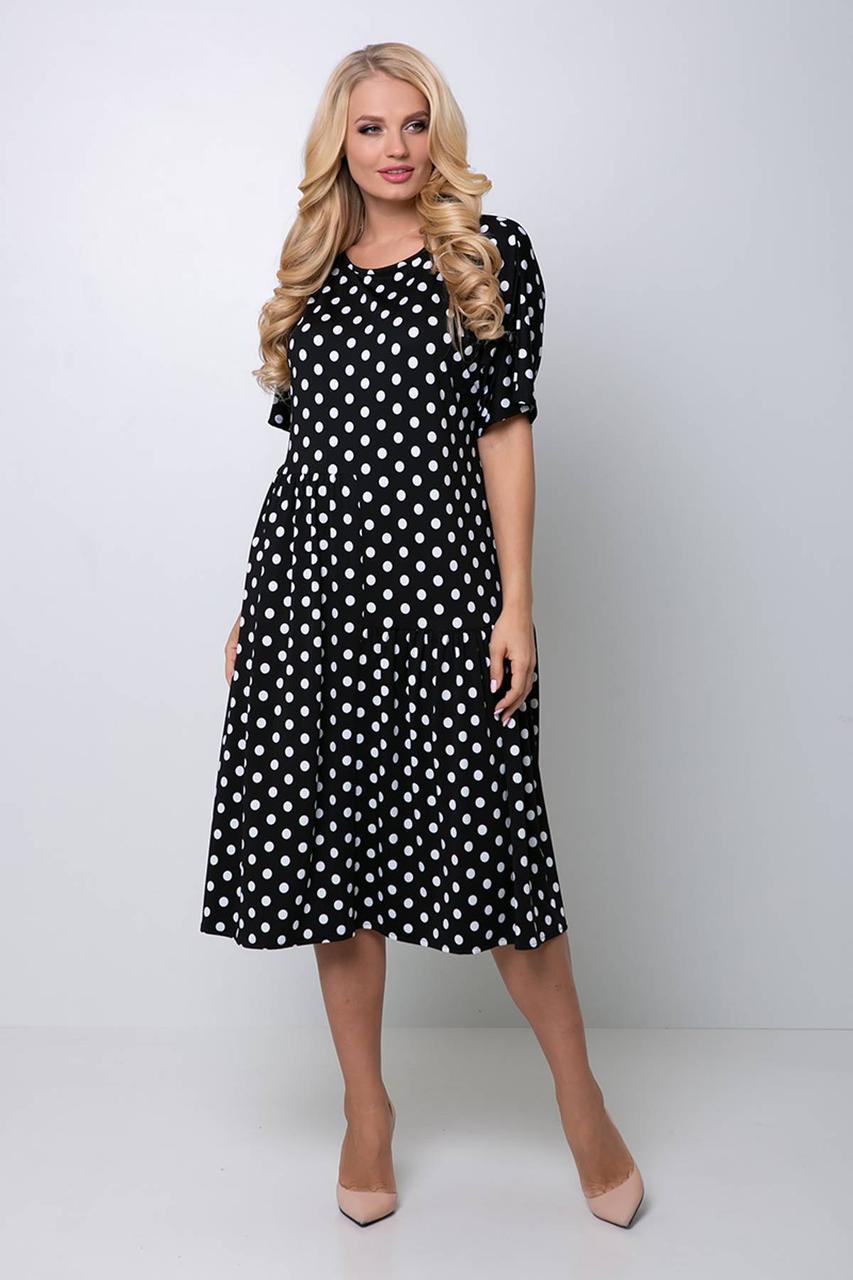 Легкое платье в горох с 54 по 60 размер