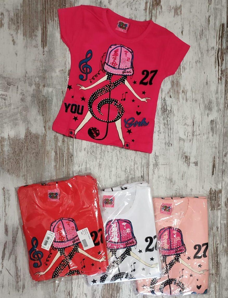 """Футболка детская """"Нотка"""" для девочек. Возраст 1-2-3-4 года (86-92-98-104 см). Один цвет в упаковке. Оптом"""