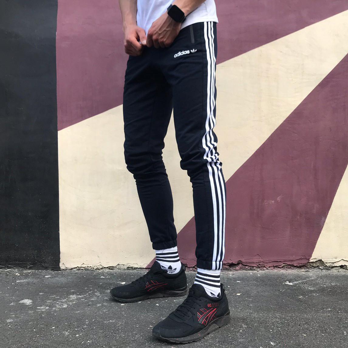 Спортивные штаны в стиле Adidas Strip темно-синие