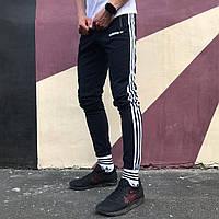 Спортивные штаны в стиле Adidas Strip темно-синие, фото 1