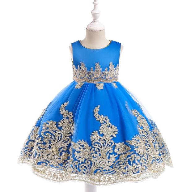 Платье волшебное синее с золотой вышивкой нарядное выпускное для девочки