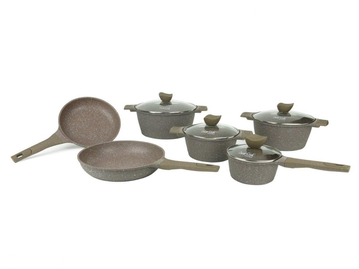 Набір кухонного посуду Oscar Cook T3171 з керамічним покриттям 12 елементів каструлі, сковорода, сотейник