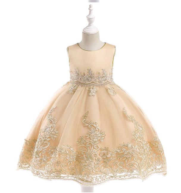 Платье волшебное шампань с золотой вышивкой нарядное выпускное для девочки