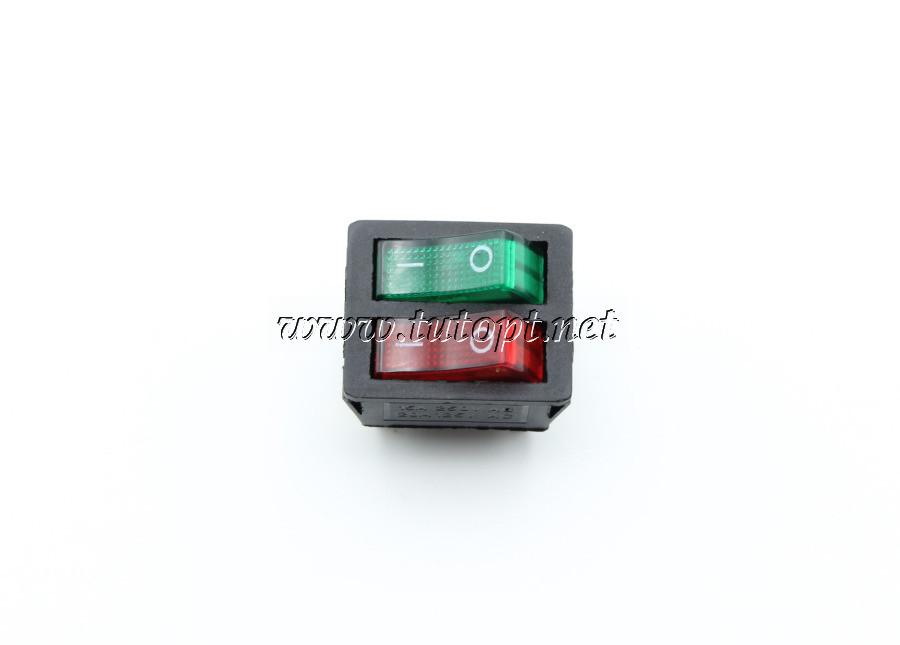 Тумблер Переключатель двухклавишный KCD8-212N красный / зеленый с подсветкой