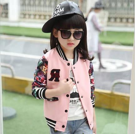Бомбер детский   на девочку  розовый с цветочным принтом 4,5,7 лет, фото 2