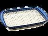 Большая прямоугольная форма для выпечки и запекания керамическая 41 х 29 с ушками Цветочный Прованс