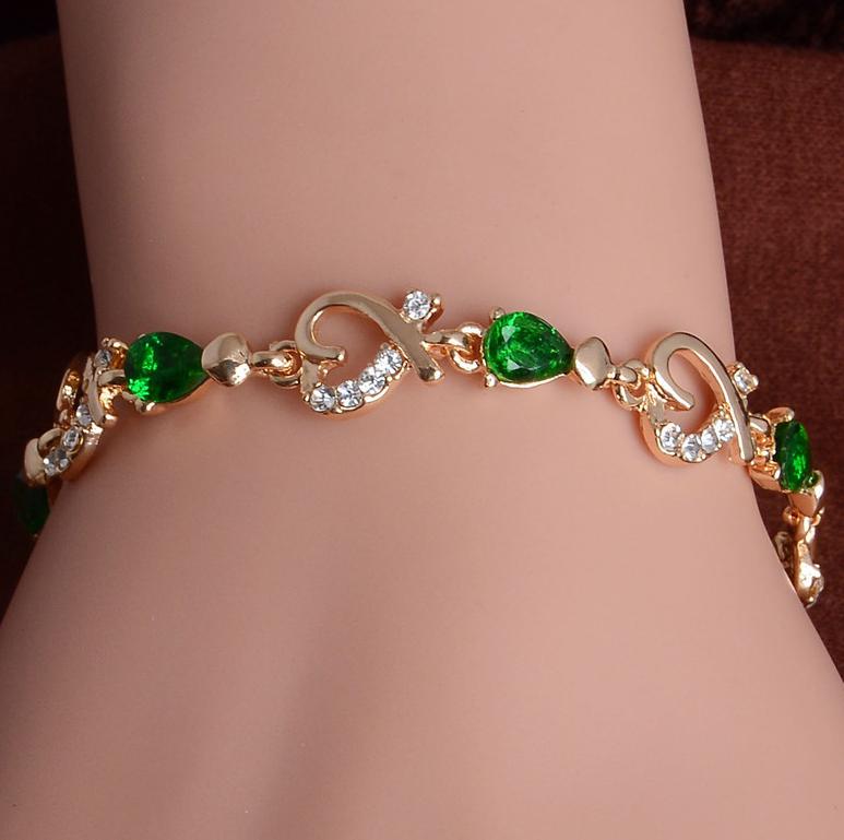 Браслет женский с зелеными и белыми камушками код 619