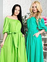 Шикарное летнее длинное платье макси рукав фонарик