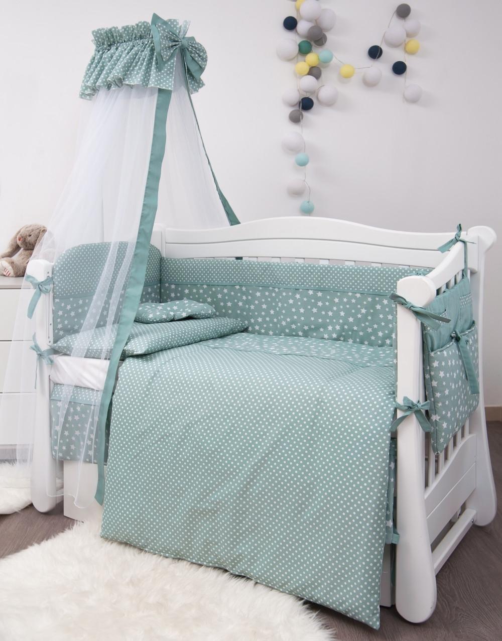 Детская постель Twins Premium Modern Retro stars P-107 мятный звезды 9предметов (постіль твінс)