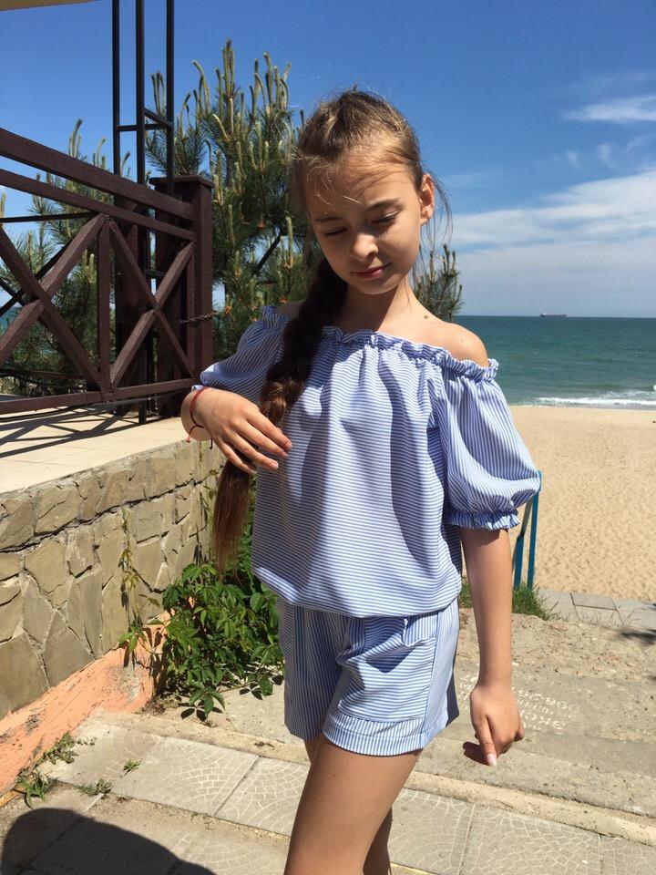 Комбинезон детский для девочки с шортами в полоску (К27766)