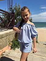 Комбинезон детский для девочки с шортами в полоску (К27766), фото 1