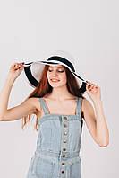 Шляпа широкополая Байс бело-черная