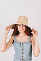 Шляпа широкополая Доминика песочная