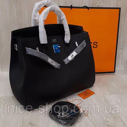 Сумка Эрмес биркин черная,35 см, фурнитура серебро, фото 2
