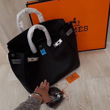 Сумка Эрмес биркин черная,35 см, фурнитура серебро, фото 3
