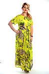 Платье салатовое хлопковое в пол кимано , длинное яркое хлопок лето Пл 192-1, фото 3