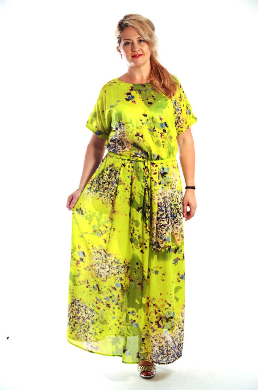 Платье салатовое хлопковое в пол кимано , длинное яркое хлопок лето Пл 192-1