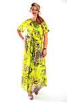 Платье салатовое хлопковое в пол кимано , длинное яркое хлопок лето Пл 192-1, фото 5
