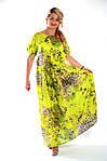 Платье салатовое хлопковое в пол кимано , длинное яркое хлопок лето Пл 192-1, фото 6