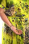 Платье салатовое хлопковое в пол кимано , длинное яркое хлопок лето Пл 192-1, фото 7