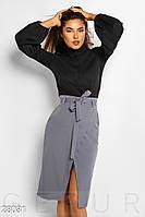 Женская юбка-карандаш с поясом серая