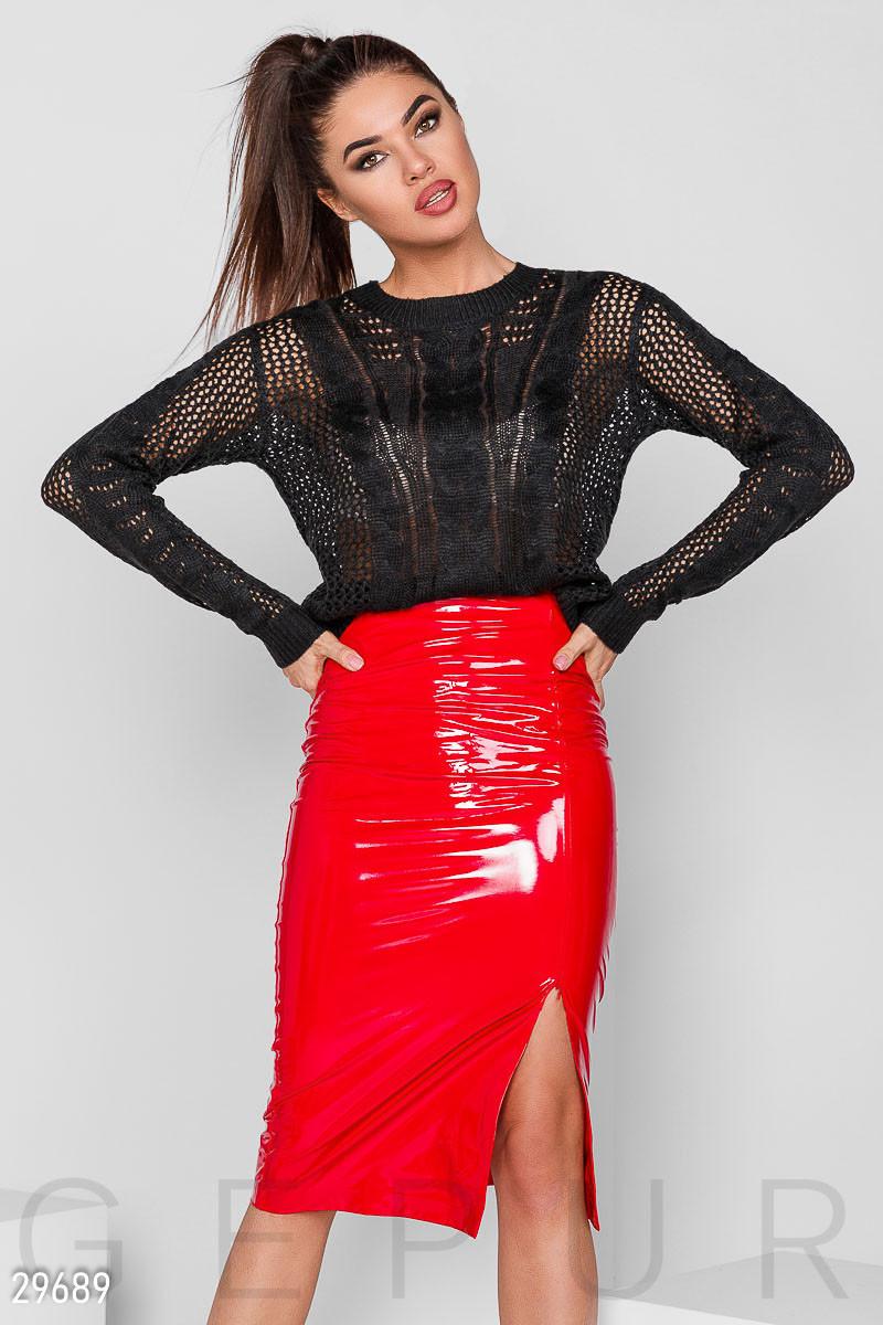 Латексная юбка-карандаш алая
