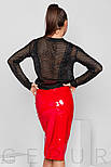 Латексная юбка-карандаш алая, фото 3