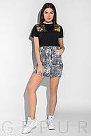 Леопардовая юбка-мини с карманами