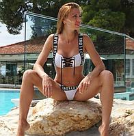 Сексуальный белый раздельный женский купальник, бразилиана, с топом, размер L
